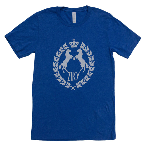 blue horse back riding shirt