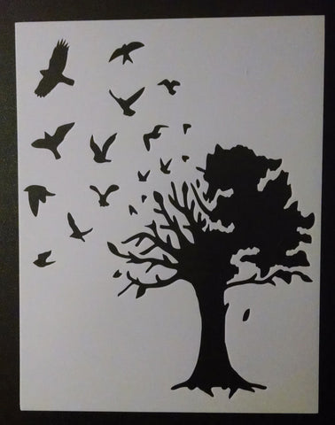 Birds Flying Out Of Large Country Tree - Stencil