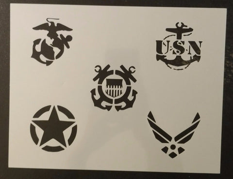 5 Branches of the Military Army Air Force Marines Navy Coast Guard Custom Stencil