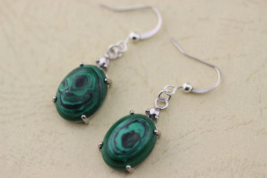 oval Malachite earrings silver jewelry Christmas gifts -99-