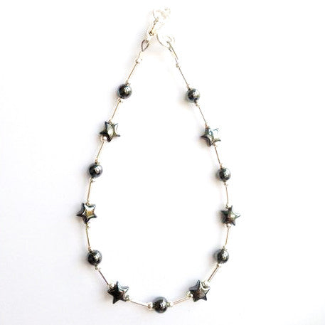 Silver and hematite star bracelet.
