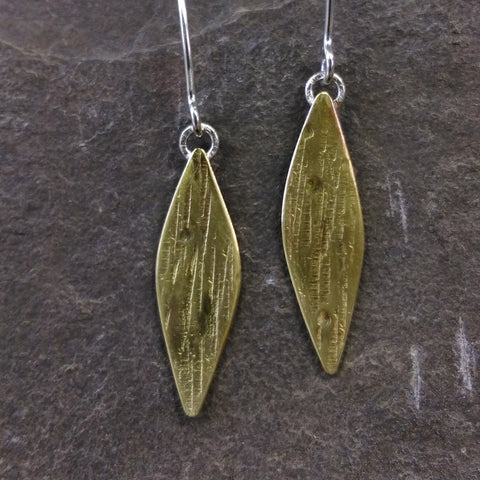 Brass Leaf shaped textured earrings