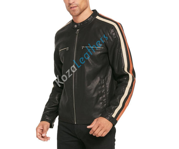 Biker Jacket - Men Real Lambskin Motorcycle Leather Biker Jacket KM216 - Koza Leathers