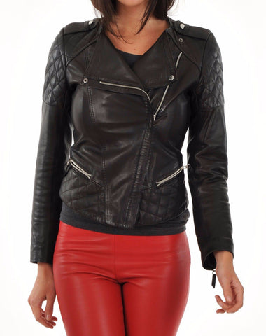 Women Real Lambskin Leather Biker Jacket KW023