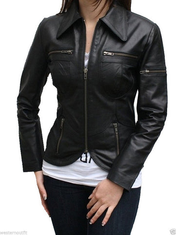 Women Real Lambskin Leather Biker Jacket KW024