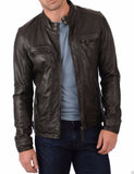 Biker Jacket - Men Real Lambskin Leather Jacket KM013 - Koza Leathers