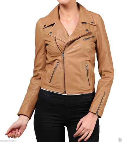 Women Real Lambskin Leather Biker Jacket KW025
