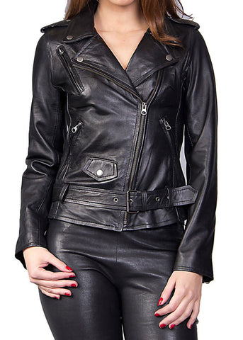 Women Real Lambskin Leather Biker Jacket KW026