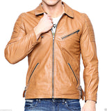 Biker Jacket - Men Real Lambskin Leather Jacket KM045 - Koza Leathers