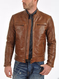 Biker Jacket - Men Real Lambskin Leather Jacket KM046 - Koza Leathers
