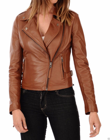 Women Real Lambskin Leather Biker Jacket KW031