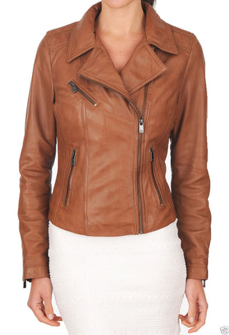 Women Real Lambskin Leather Biker Jacket KW032