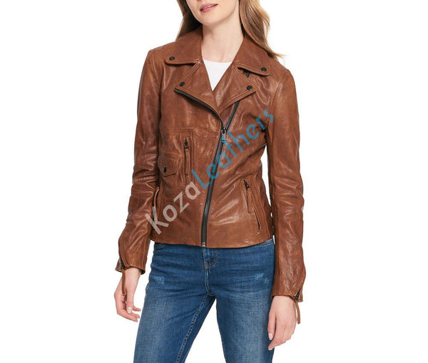 Women Real Lambskin Leather Biker Jacket KW100