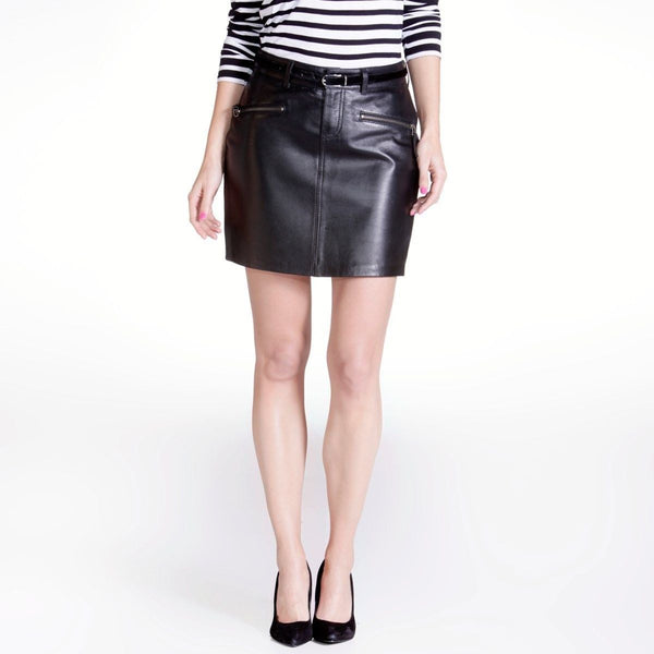 Women Real Lambskin Leather Mini Skirt WS031