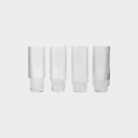 Glassware - Ferm Living Ripple Long Drink Glasses (set Of 4)