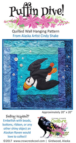 Quilted Wall Hanging Pattern - Puffin Dive!