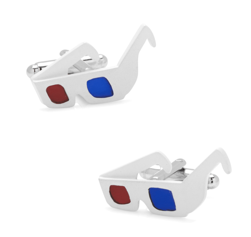 3D Glasses Cufflinks - Groomsmen Groom Wedding Gift For Him