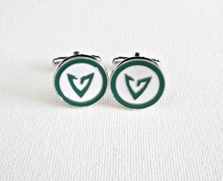 Green Arrow Cufflinks - Groomsmen Groom Wedding Gift For Him