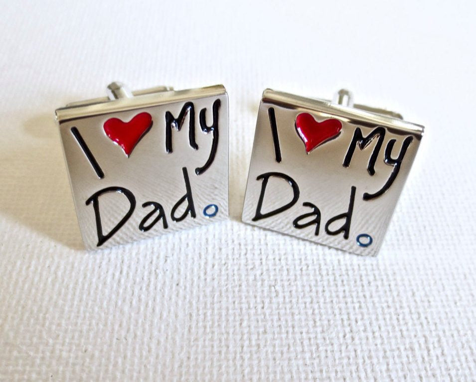 I Love My Dad Father's Day Cufflinks - MarkandMetal.com