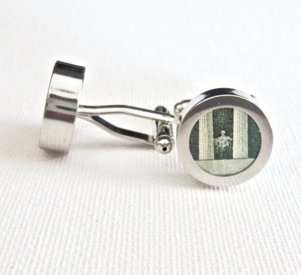 Abraham Lincoln Five Dollar Cufflinks - Groomsmen Groom Wedding Gift For Him