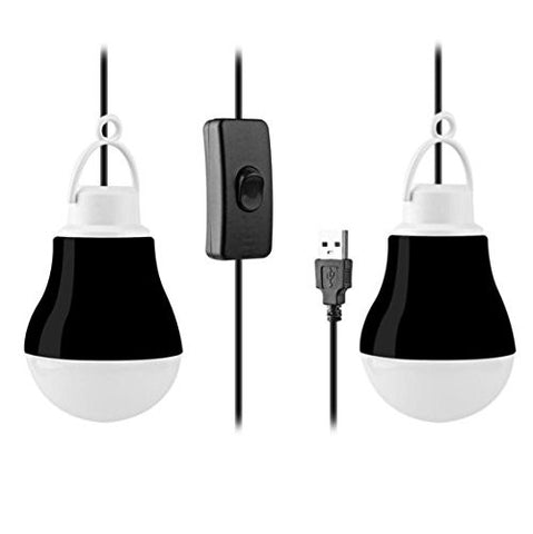 "KOBRA USB LED Light Bulbs (2-Pack) For Camping, Emergency, And Night Light - 5W, 40"" Wire (Black)"
