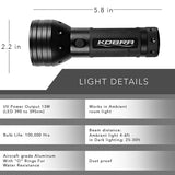 KOBRA UV Black Light Flashlight 51 Extreme Power LEDs Ultra Intensity 385-395NM bulbs Spots Pet urine Counterfeit Money, Checks IDs Hotel and Home Inspection
