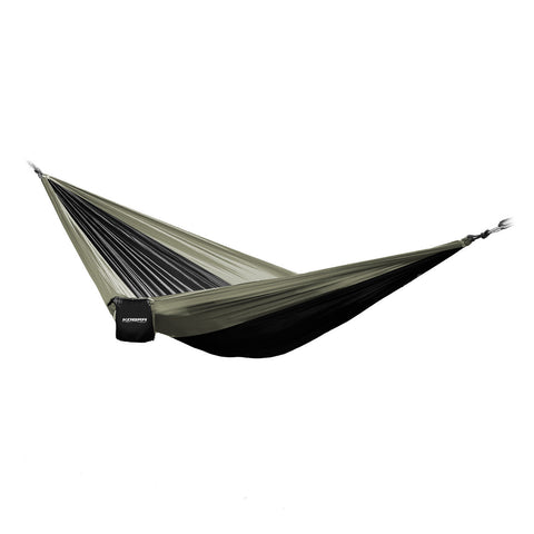KOBRA Products Portable Parachute Nylon Hammock - For Camping and Outdoor, Strong Ropes and Carabiner Hooks Included (Green/Black), Approx 275cm x 140cm)