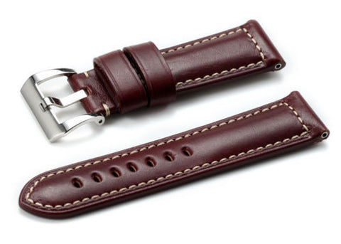 24mm Burgundy, Padded, Smooth Genuine Leather