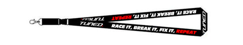 Tuned. 'Race, Break, Fix, Repeat' Lanyard