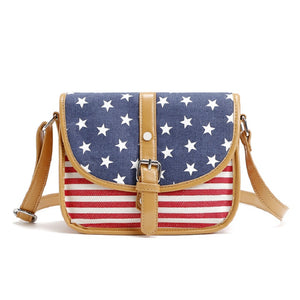 US Flag Pattern Canvas Leather Crossbody Bags for Women 1486