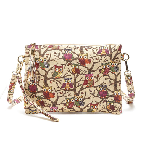 Cartoon Owl Printed Shoulder Bags Canvas Day Clutches for Women 4163