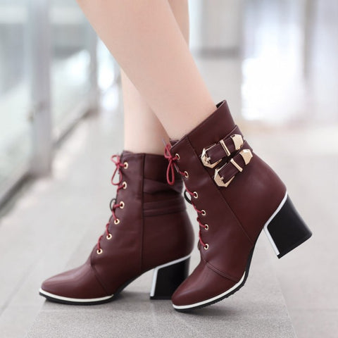 Pointed Toe Lace Up Short Boots Plus Size Women Shoes 4172