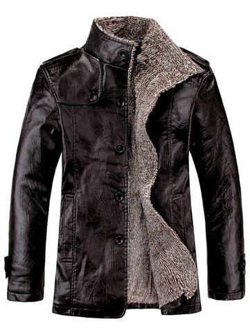 Stand Collar Flocking Single Breasted PU-Leather Jacket 1128