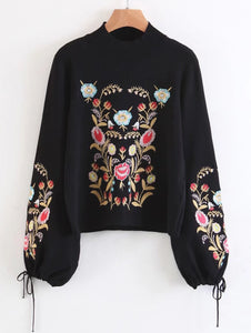 Floral Printed High Neck Pullover Sweaters for Women 9421