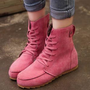 Lace Up Suede Wedges Boots for Women 6620