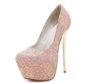 Glitter High Heels Platform Pumps Party Wedding Shoes 2270