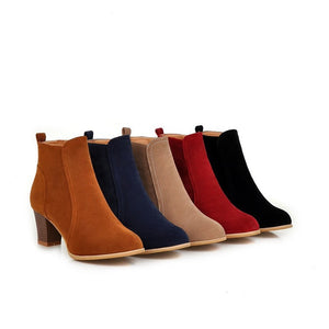 Women's Ankle Boots Chunky Heels Shoes Autumn and Winter 3886