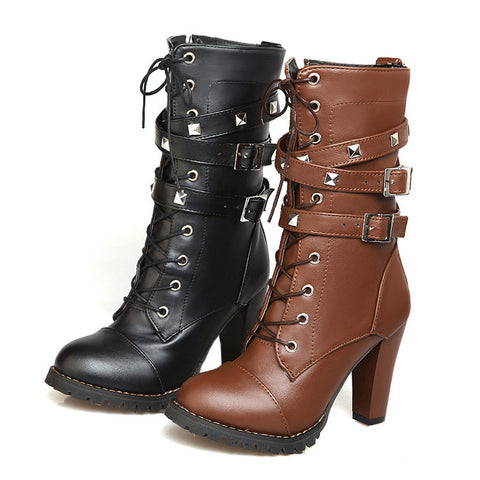 Side Zipper Rivets High Heel Motorcycle Boots 7947