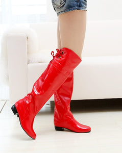 Patent Leather Tall Boots Low Heels for Women 5244