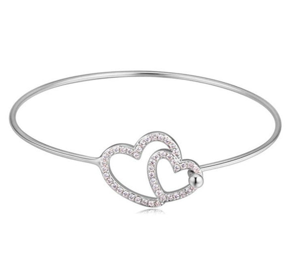 Tween Hearts Bangle - Silver
