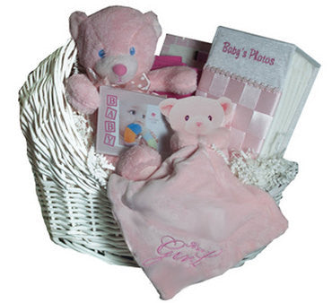 Cradles and Bear Pink Gift Basket