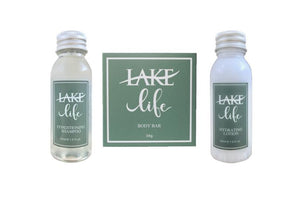lake life hotel size soap and shampoo