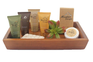 mountain escape vacation rental toiletries