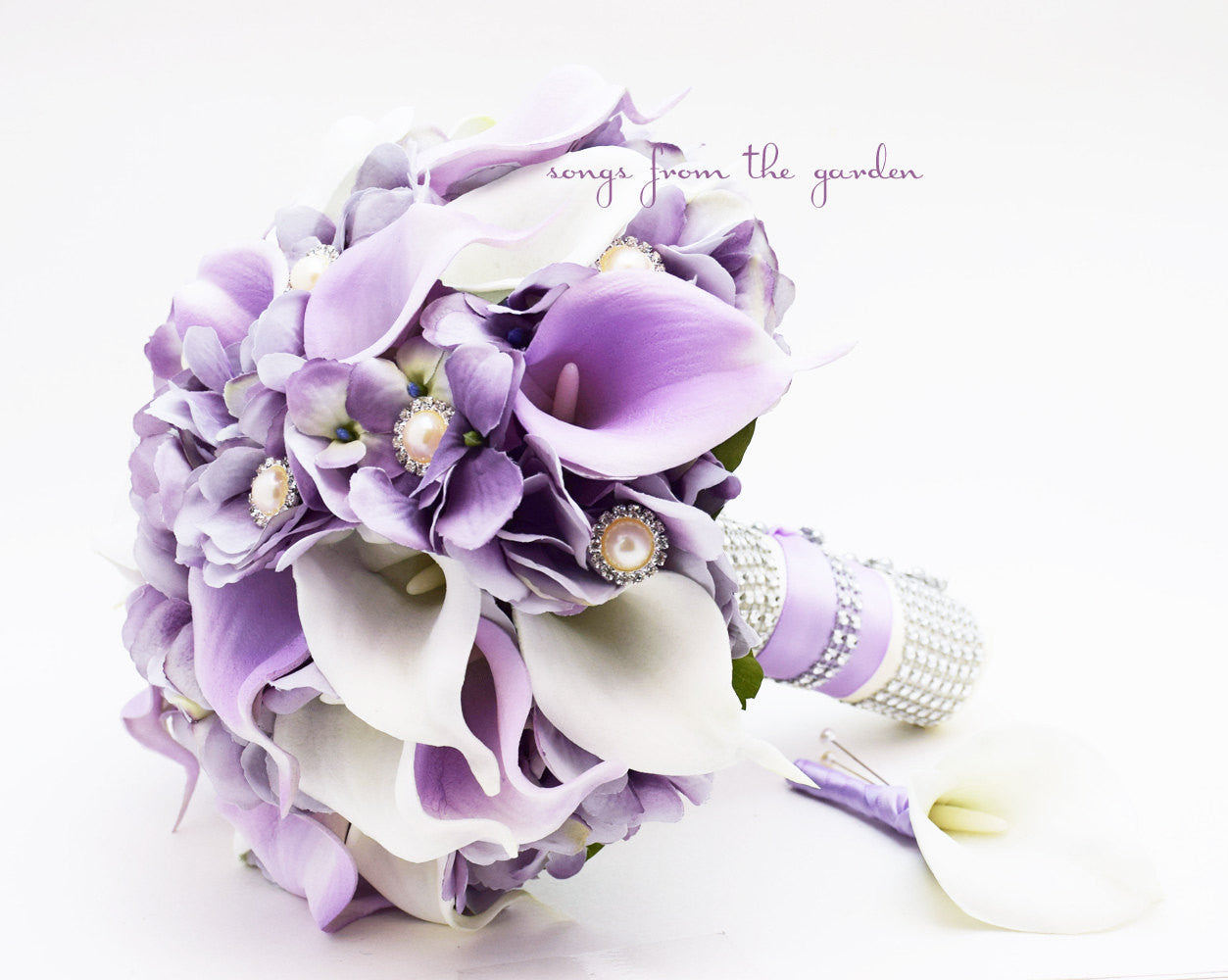 Lavender & White Real Touch Calla Lily Wedding Bouquet