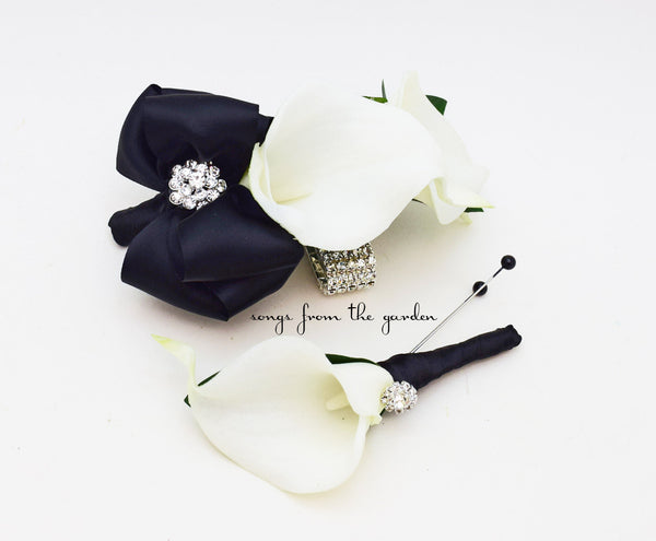 Black and White Callas and Rhinestones Real Touch Wedding Boutonniere and Corsage