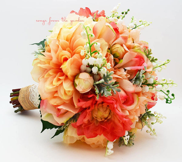 Coral Peach Grey Salmon Bridal Bouquet Lily of the Valley Dahlias Roses Hydrangea