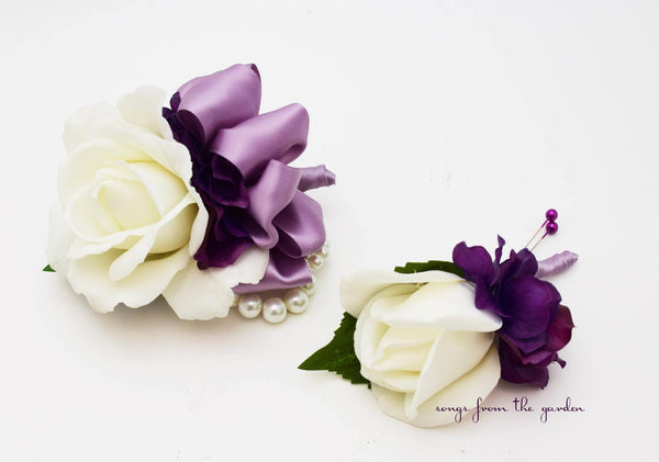 White Lavender Purple Rose Wedding Boutonniere & Corsage with Pearls Plum Purple Ribbon