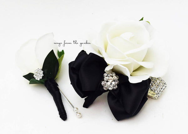 Black and White with Rhinestones Real Touch Rose Wedding Boutonniere and Corsage
