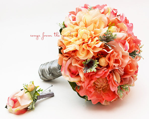 Coral Peach Bridal Bouquet Dahlias Roses Hydrangea Peach Salmon Coral Grey White