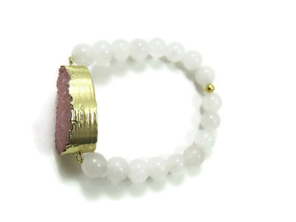Pink Druzy and White Jade Bracelet - Top